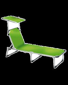 Dreibeinliege L + Dach Alu/Stahl grün